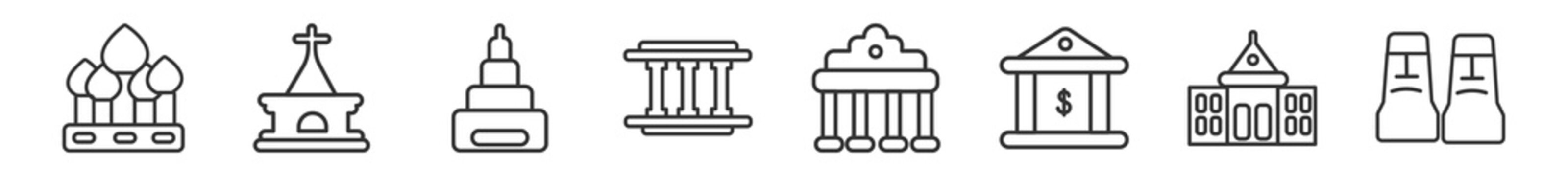 outline set of buildings line icons. linear vector icons such as cathedral of saint basil, chuch, buddist cemetery, lincoln memorial, brandenburg gate, rapa nui. vector illustration.
