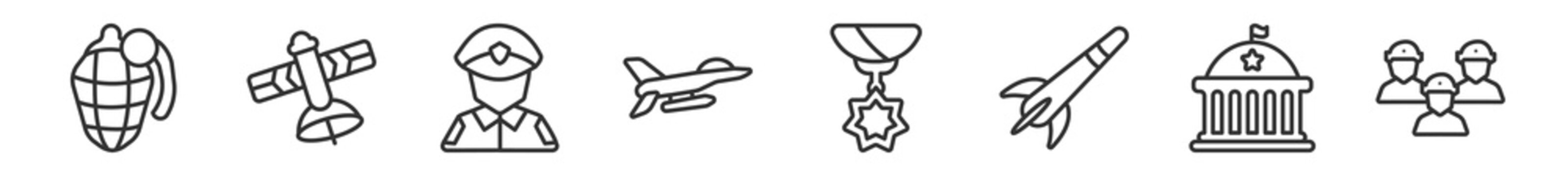 outline set of army and war line icons. linear vector icons such as whizbang with rong, military satellites, officer, air force, condecoration, brigade. vector illustration.