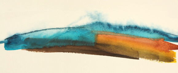Abstract watercolor and acrylic flow blot painting. Blue and red Color canvas texture background.