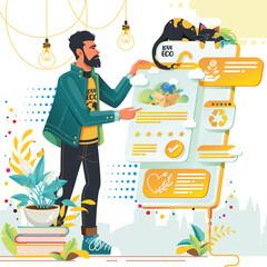 Obraz Płaska Ilustracja wektorowa, mężczyzna składający zamówienie przez Internet. Ekologiczne zakupy - fototapety do salonu