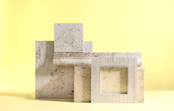 Abstract modern still life. Natural materials. Composition of travertine and concrete blocks.