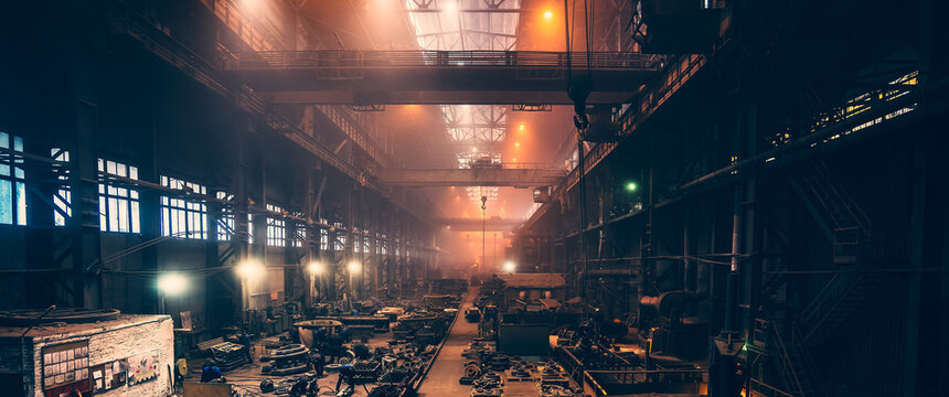 Metallurgical plant panorama. Industrial steel production. Steel mill factory. Heavy industry foundry.