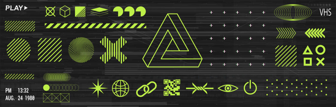 Trendy minimalist elements set with icons and digital shapes for apparel, t-shirt, merch, posters, covers, flyers. Universal elements in vaporwave and memphis style. Retrofuturism shapes. Vector