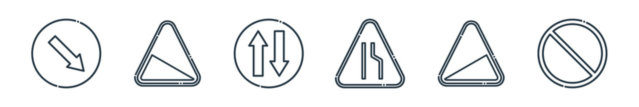 outline set of signaling line icons. linear vector icons such as keep right, slope, two way, narrow road, slope, no waiting. vector illustration.