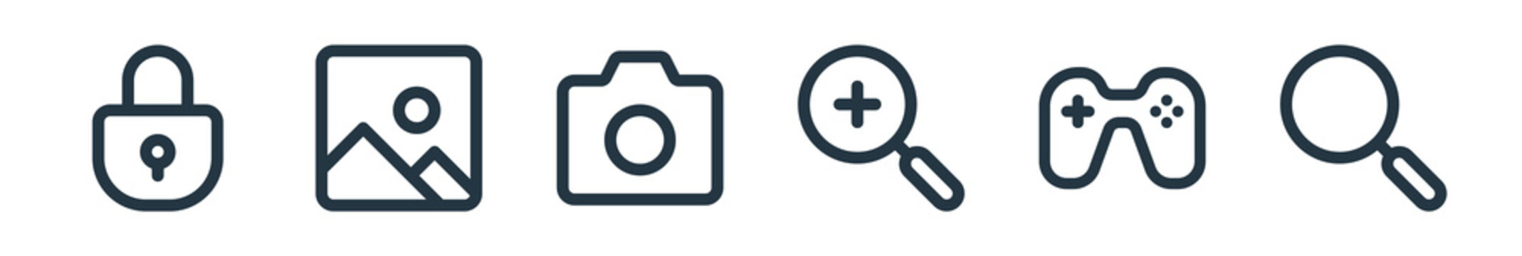 outline set of user interface line icons. linear vector icons such as locked, photo, camera, zoom in, games, search. vector illustration.