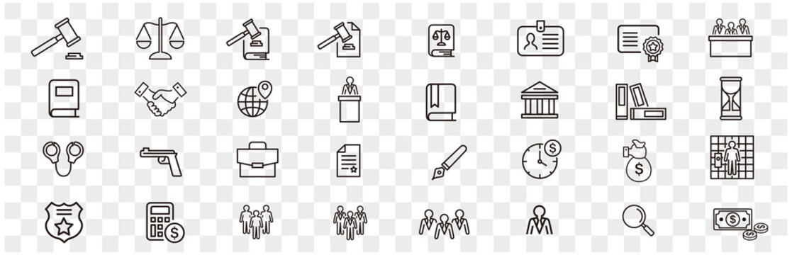 Lawyer and justice icons set vector