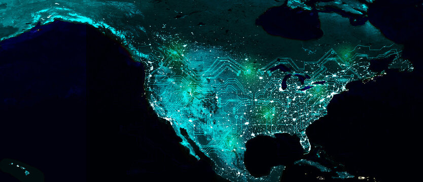 North American continent electric lights map at night. Satellite view. Global computers communication networking. Cyberspace
