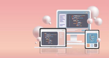 Fototapeta web development programmer engineering coding website programming software apps for different devices cross platform obraz