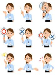 社員証を付けた夏のオフィスで働く女性の上半身 9種類の仕草と表情  - fototapety na wymiar