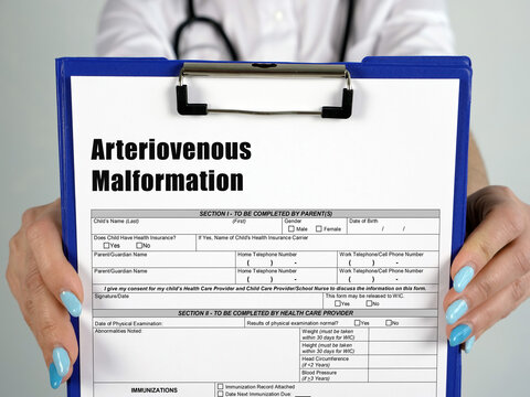 Healthcare concept about Arteriovenous Malformation with inscription on the page.