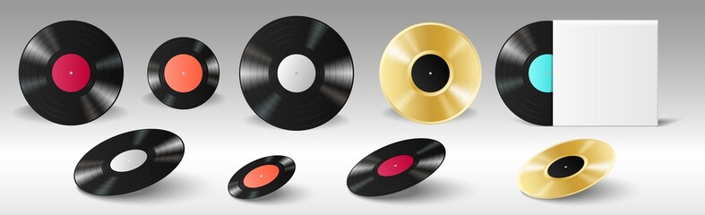 Fototapeta Vinyl set realistic retro records for gramophone with empty labels and in blank album cover obraz