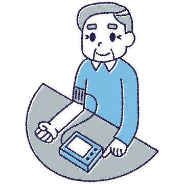 血圧を測定しているおじいさん