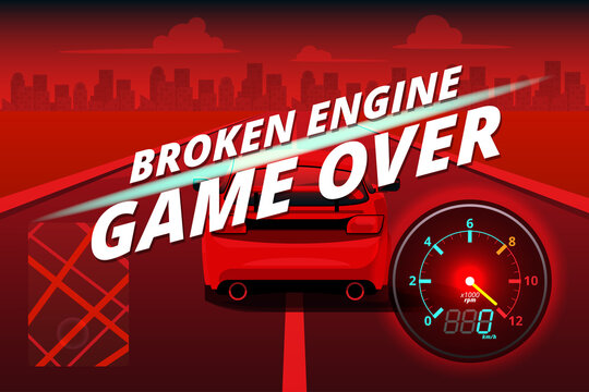 Word in end of sport game racing car. You lose, fail, foul, wrong in game and restart game to new game.