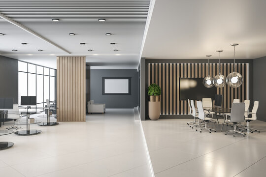 Sunny coworking office with wooden decoration interior design, light top and glossy floor. Blank white wallpaper in black frame on grey wall and stylish conference room. 3D rendering.