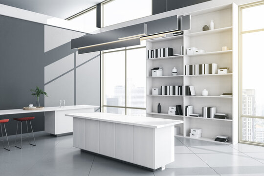 White panoramic concrete living room interior with city view, sunlight, counters and bookshelf. 3D Rendering.