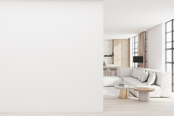 Obraz Modern living room interior with comfortable couch, city view with daylight and blank mockup place on concrete wall. Mock up, 3D Rendering. - fototapety do salonu