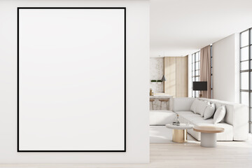 Obraz Modern living room interior with comfortable couch, city view with daylight and blank poster on concrete wall. Mock up, 3D Rendering. - fototapety do salonu