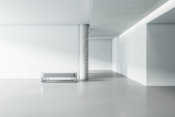 Fototapeta Bright white concrete gallery interior with panoramic window city view, empty mockup place for your advertisement and seat. Mock up, 3D Rendering. obraz