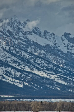 Scenic view majestic snow mountains in cloudy weathe