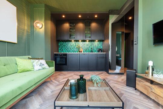 Interior design of small elegant apartment, home staging