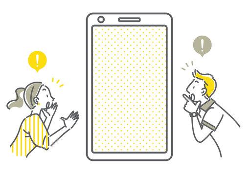女性と男性と空白のスマホ画面のシンプルでお洒落な線画イラスト