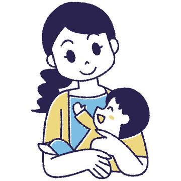 子供をだっこしているお母さん