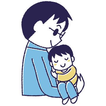 寝ている子供をだっこするお父さん