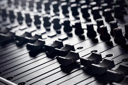 Recording studio mixing desk with mixer control desk slider