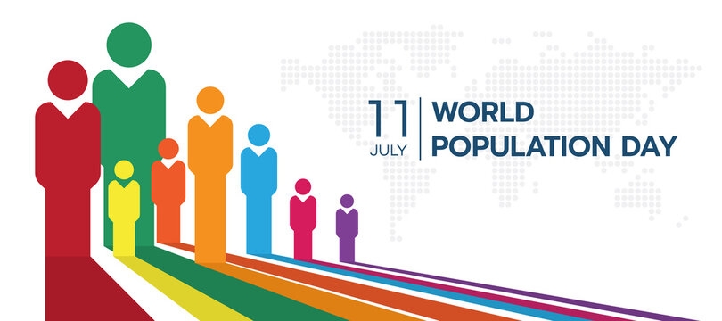 World population day with white perspective colorful humans sign and circle dot world map texture background vector design