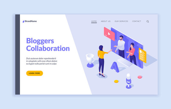 Online webinars and collaboration with bloggers. Woman asks questions web communication to business professionals. Digital learning with media broadcasts. Vector landing page isometric template