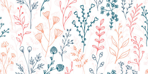 Obraz Field flower sprigs natural vector seamless pattern. Creative floral textile print. Meadow plants leaves and stems wallpaper. Field flower branches girly fashion repeating swatch - fototapety do salonu