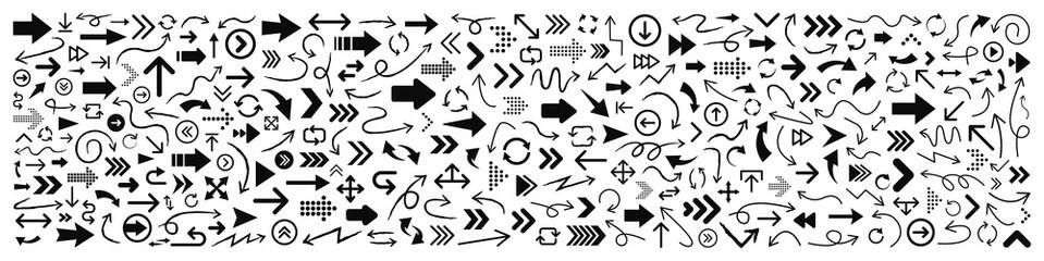 Wall Mural - 300 Arrows set black icons. Arrow icon. Arrow vector collection. Arrow. Cursor. Modern simple arrows. Vector illustration.