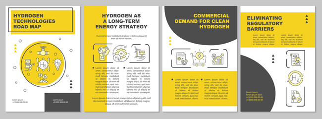 Obraz Hydrogen technologies road map brochure template. Green fuel. Flyer, booklet, leaflet print, cover design with linear icons. Vector layouts for presentation, annual reports, advertisement pages - fototapety do salonu