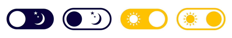 Fototapeta Set of night mode and day mode buttons. Night, day switch. Night and day mode icons. Vector illustration. obraz