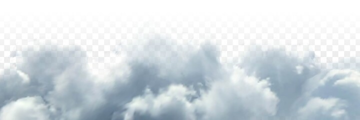 Obraz Vector realistic isolated cloud sky for template decoration and covering on the transparent background. Concept of storm and cloudscape. - fototapety do salonu