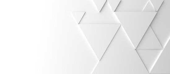 Obraz Abstract modern white triangle background, 3d rendering with space for text - fototapety do salonu