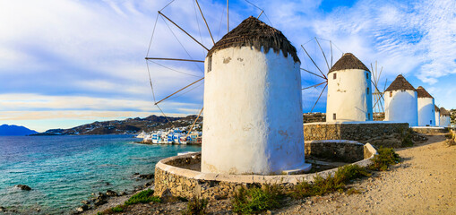 Greece travel and landmarks. Traditional old windmill in Mykonos island, Cyclades