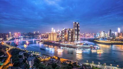 Fototapeta Aerial photography of Sichuan and Chongqing city night view obraz
