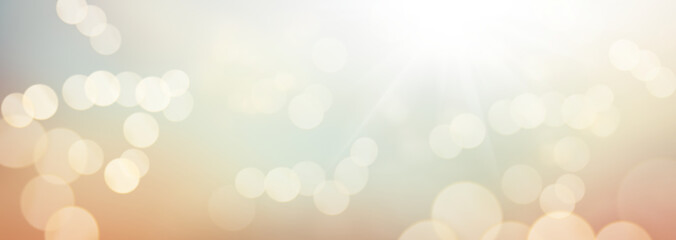 Obraz An autumn sunny blue sky with golden orange brown blurred foliage and blurred sun bokeh background. Illustration. - fototapety do salonu