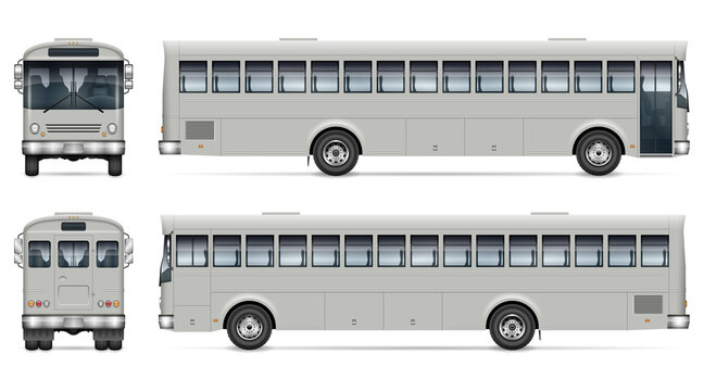Bus vector mockup on white background for vehicle branding, corporate identity. View from side, front and back. All elements in the groups on separate layers for easy editing and recolor