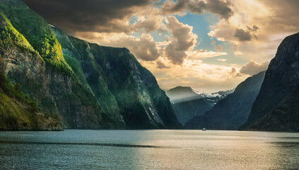 Panoramic evening landscape of Aurlandsfjord. Sognefjord., Norway