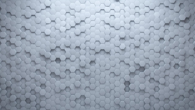 Semigloss Tiles arranged to create a 3D wall. Futuristic, White Background formed from Hexagonal blocks. 3D Render