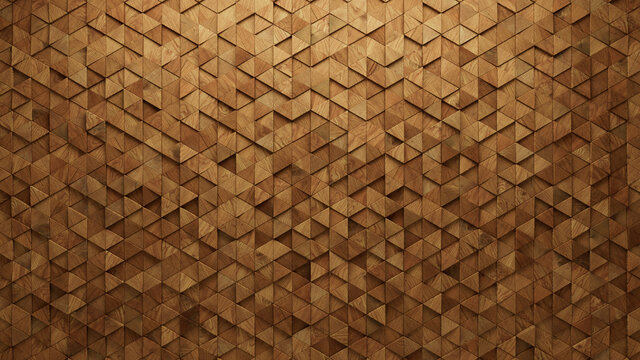 Natural Tiles arranged to create a Triangular wall. Soft sheen, Wood Background formed from 3D blocks. 3D Render