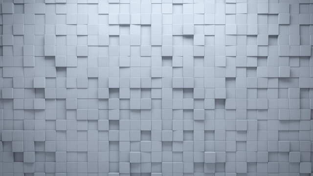 Futuristic Tiles arranged to create a Semigloss wall. White, 3D Background formed from Square blocks. 3D Render