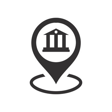 Bank or courthouse location pin for map. Black vector icon.