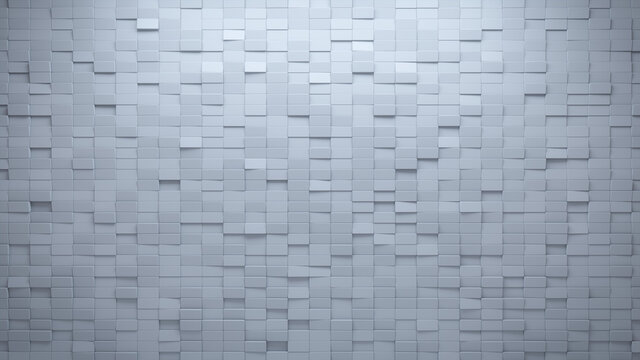 Rectangular Tiles arranged to create a White wall. Futuristic, 3D Background formed from Semigloss blocks. 3D Render