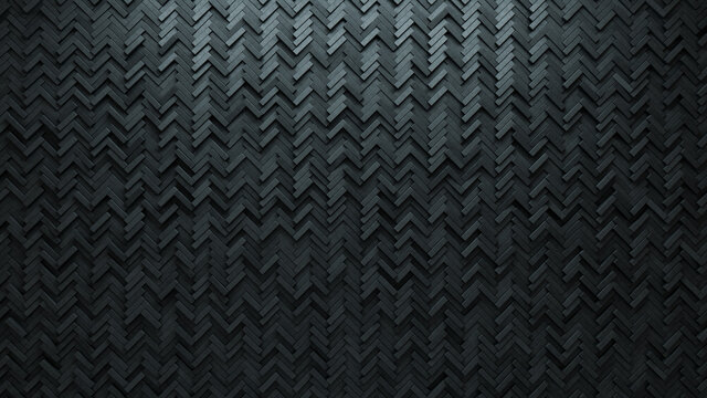 Herringbone Tiles arranged to create a Concrete wall. Semigloss, Futuristic Background formed from 3D blocks. 3D Render