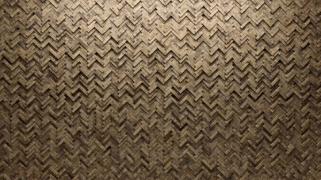 Herringbone Tiles arranged to create a Semigloss wall. Textured, 3D Background formed from Natural Stone blocks. 3D Render