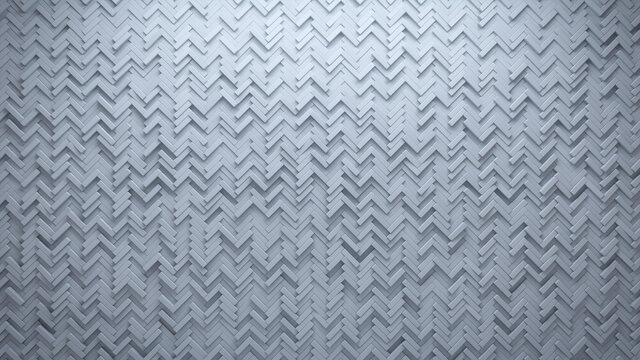 Semigloss Tiles arranged to create a White wall. Futuristic, Herringbone Background formed from 3D blocks. 3D Render