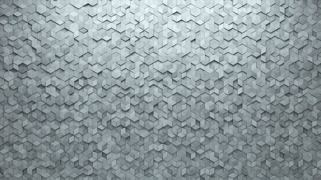 3D Tiles arranged to create a Semigloss wall. Concrete, Futuristic Background formed from Diamond Shaped blocks. 3D Render